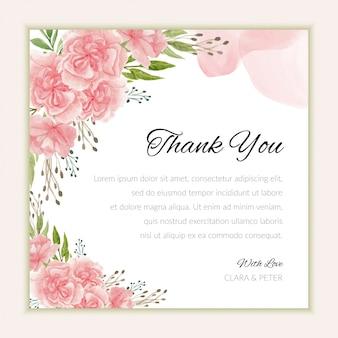 Plantilla de tarjeta de agradecimiento nupcial con acuarela flor de clavel