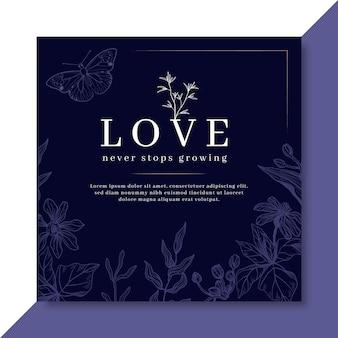 Plantilla de tarjeta de amor elegante con flores