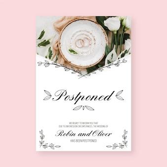 Plantilla de tarjeta de anillos de boda pospuestos
