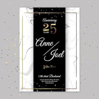 Plantilla de tarjeta de aniversario de 25 años