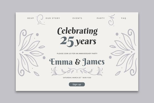 Plantilla de tarjeta de aniversario de boda
