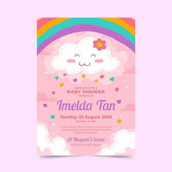 Plantilla de tarjeta de baby shower chuva de amor dibujada a mano