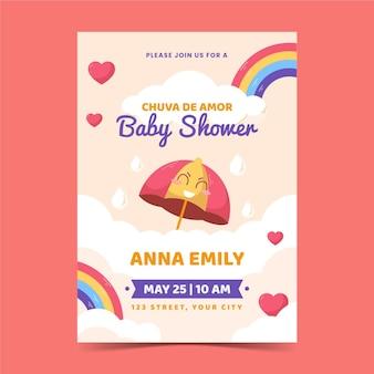 Plantilla de tarjeta de baby shower de chuva de amor