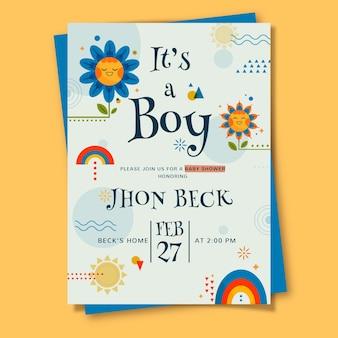 Plantilla de tarjeta de baby shower para niño ilustrada