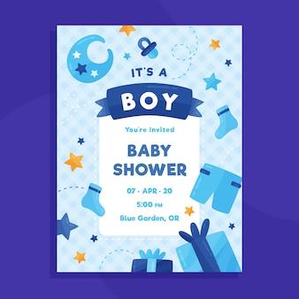 Plantilla de tarjeta de baby shower para niño