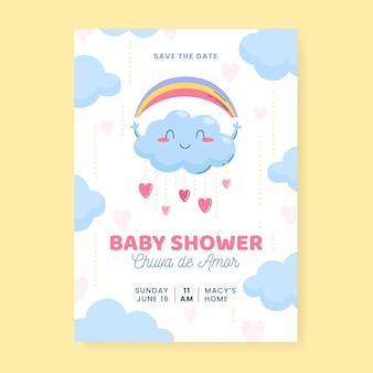 Plantilla de tarjeta de baby shower orgánica plana chuva de amor