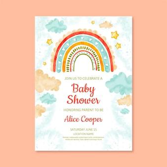 Plantilla de tarjeta de baby shower pintada a mano vector gratuito