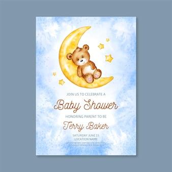 Plantilla de tarjeta de baby shower pintada a mano