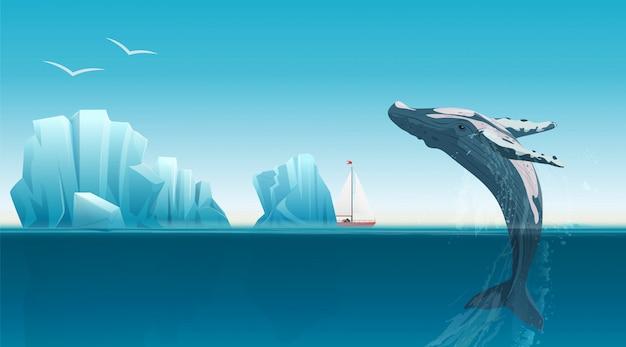 Plantilla de tarjeta con ballena saltando bajo la superficie del océano azul cerca de icebergs.