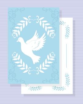 Plantilla de tarjeta de bautismo con símbolo de paloma