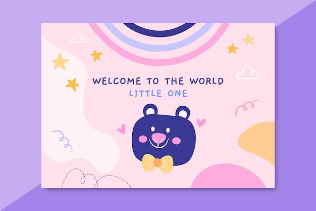 Plantilla de tarjeta de bebé infantil dibujada a mano