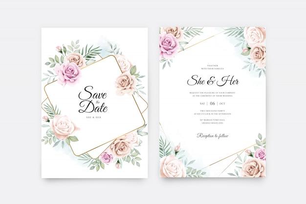 Plantilla de tarjeta de boda con acuarela floral marco dorado
