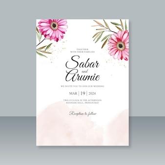 Plantilla de tarjeta de boda con acuarela floral