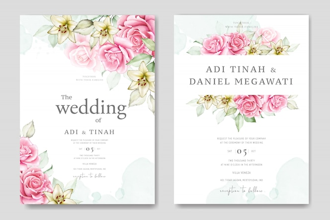 Plantilla de tarjeta de boda acuarela con hermosas flores y hojas