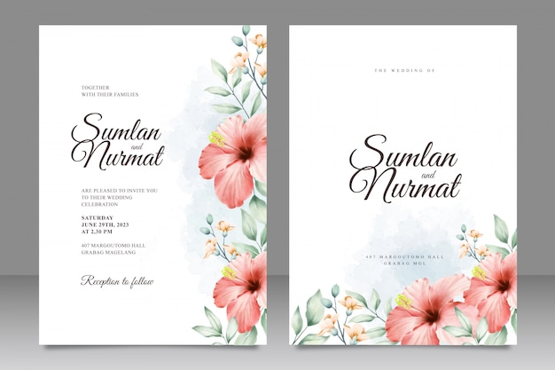 Plantilla de tarjeta de boda con acuarela de jardín de flores