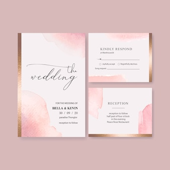 Plantilla de tarjeta de boda acuarela con pinceladas