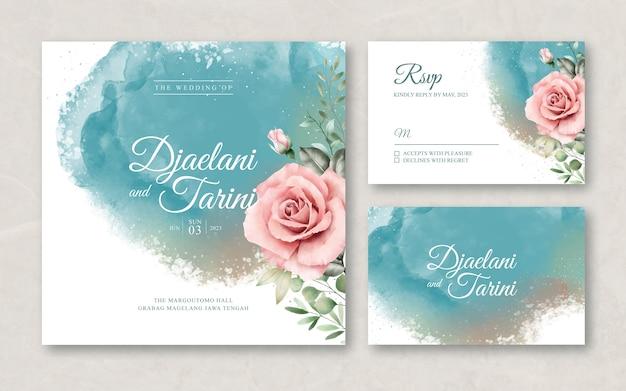 Plantilla de tarjeta de boda con acuarela splash y flor