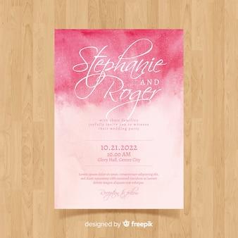 Plantilla de tarjeta de boda en acuarela