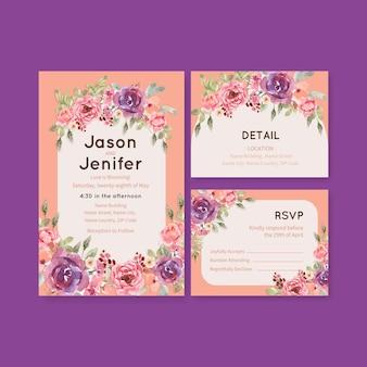 Plantilla de tarjeta de boda con amor floreciente concepto diseño acuarela ilustración