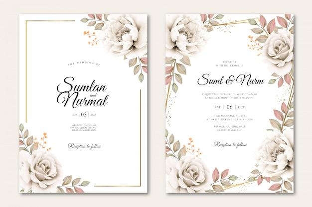 Plantilla de tarjeta de boda con aquarel floral