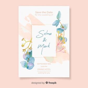 Plantilla de tarjeta de boda bastante floral