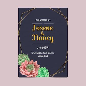 Plantilla de tarjeta de boda de cactus de suculentas de marco azul marino y oro