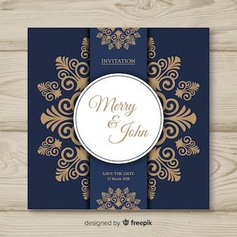 Plantilla de tarjeta de boda decorativa
