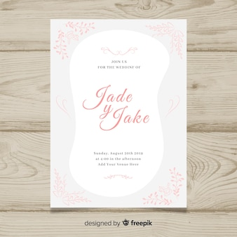 Plantilla de tarjeta de boda dibujada a mano