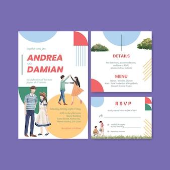 Plantilla de tarjeta de boda con diseño de concepto de amor paraíso para ilustración acuarela de invitación