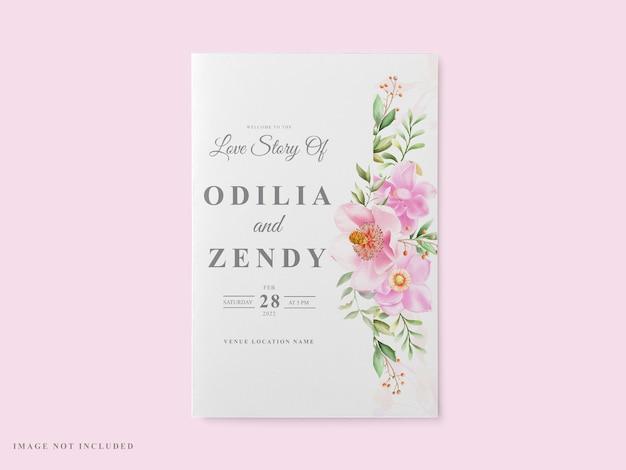 Plantilla de tarjeta de boda diseño de magnolia rosa