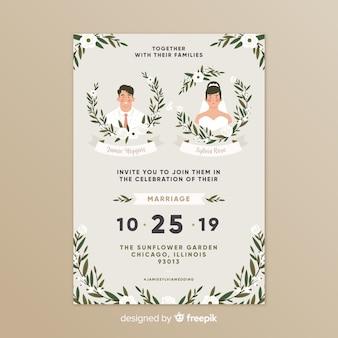 Plantilla de tarjeta de boda en diseño plano