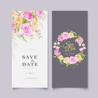 Plantilla de tarjeta de boda elegante corona floral