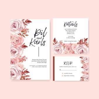 Plantilla de tarjeta de boda en estilo acuarela