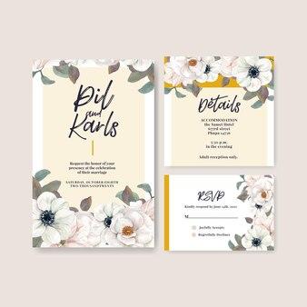Plantilla de tarjeta de boda estilo acuarela