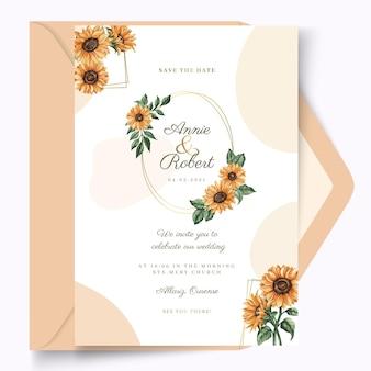 Plantilla de tarjeta de boda de estilo floral