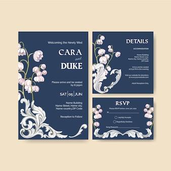 Plantilla de tarjeta de boda con estilo italiano en estilo acuarela