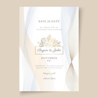 Plantilla de tarjeta de boda de estilo minimalista