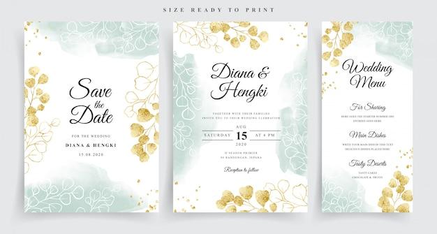 Plantilla de tarjeta de boda de eucalipto acuarela dorada
