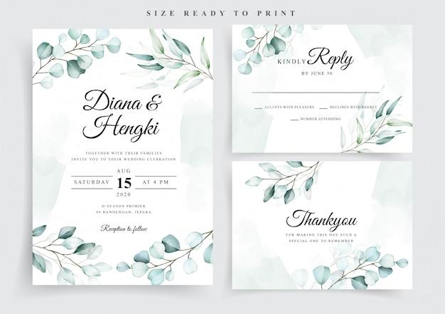 Plantilla de tarjeta de boda de eucalipto de acuarela suave