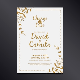 Plantilla de tarjeta de boda con fecha pospuesta