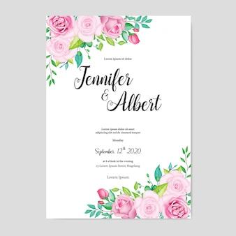 Plantilla de tarjeta de boda floral acuarela hermosa