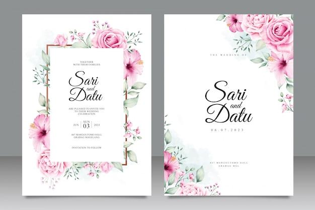 Plantilla de tarjeta de boda floral acuarela inviation