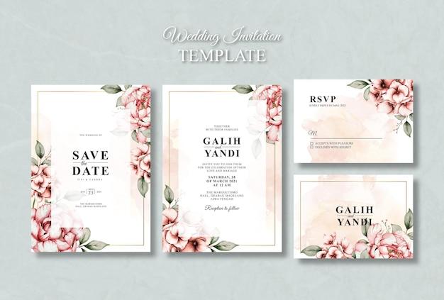 Plantilla de tarjeta de boda floral acuarela