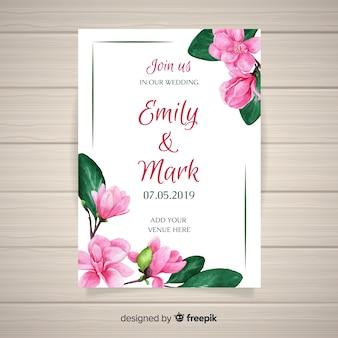 Plantilla de tarjeta de boda floral en acuarela