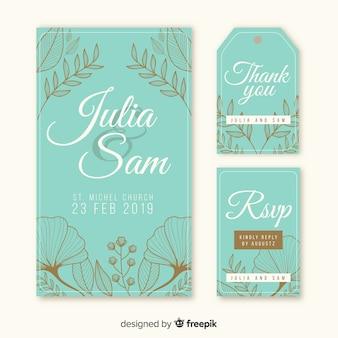Plantilla de tarjeta de boda floral dibujada a mano
