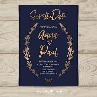 Plantilla de tarjeta de boda floral dorada