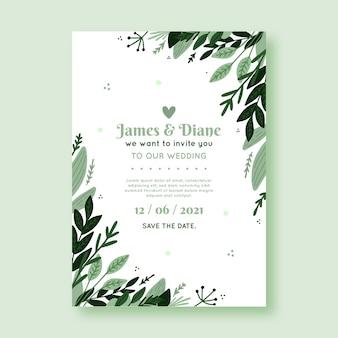 Plantilla de tarjeta de boda floral hermosa