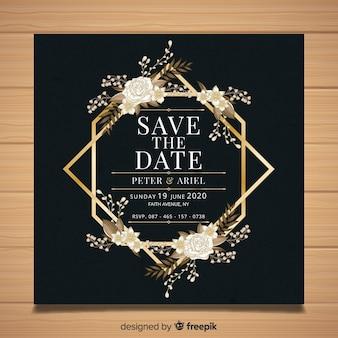 Plantilla de tarjeta de boda floral con marco dorado