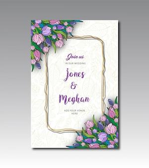 Plantilla de tarjeta de boda floral de tulipán