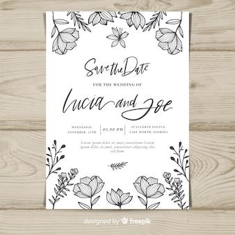Plantilla de tarjeta de boda floral vintage